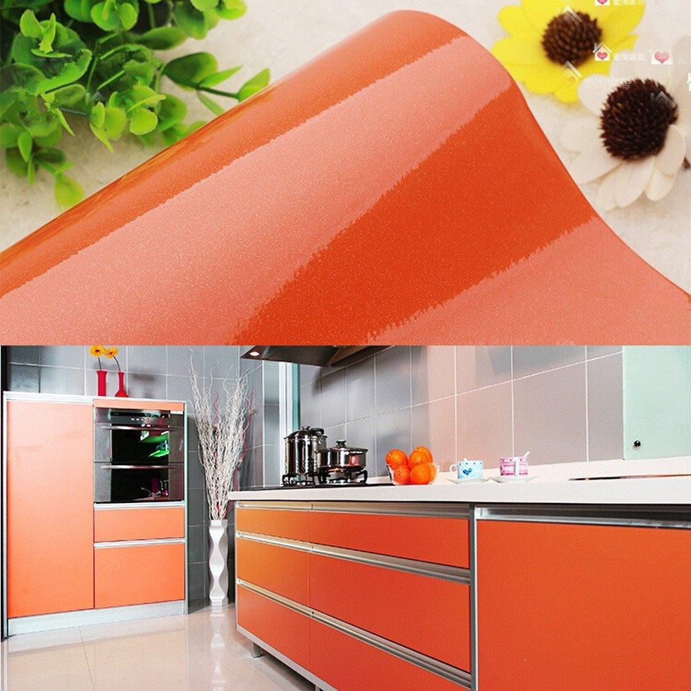 yazi Vinyl Oil Proof Adhesive Kitchen Unit Cupboard Door Cover Wall Paper,24x196 Inch, Orange Valentine's Day Gift