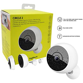 Logitech Circle 2 Indoor/Outdoor Weatherproof Wireless Home Security Camera HD 1080p -W/
