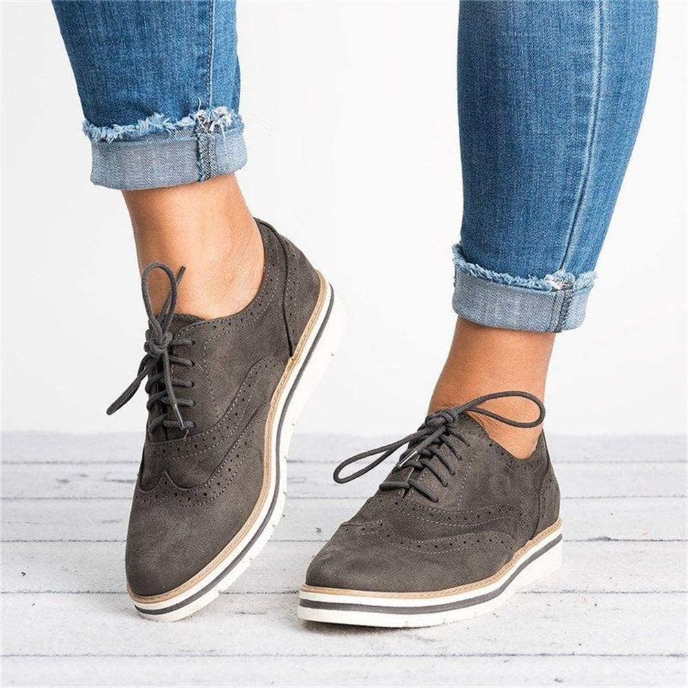 Womens Brogue Lace Up Retro Shoes Ladies Ankle Flat Wide Fit Soft Suede Casual Oxfords Low Heel Shoes Black Pink Gray Blue Brown 3-7 UK Gray 4.5(38EU)