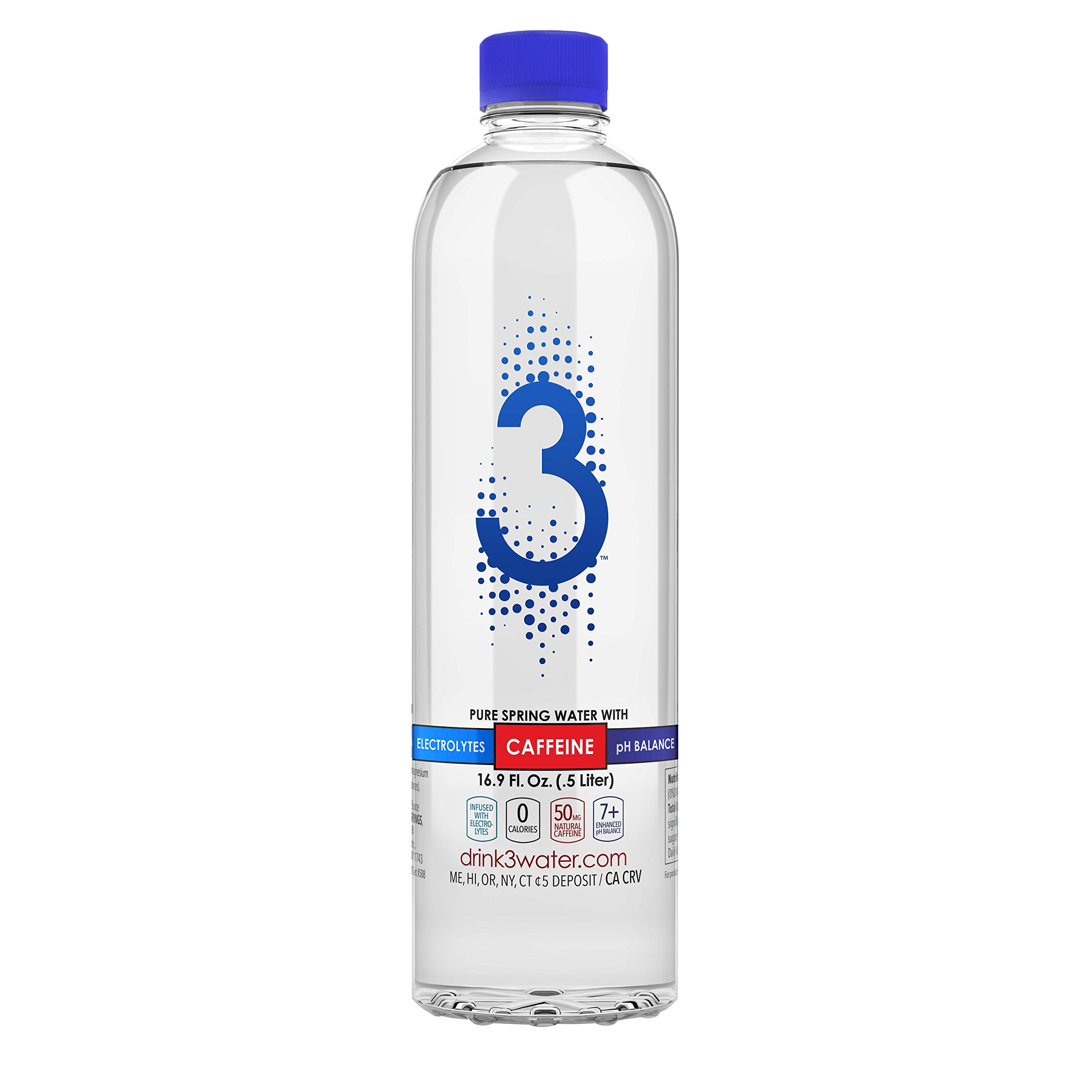 3 Water - 24 Pack 16.9 Ounce - Caffeinated Water with Electrolytes & enhanced pH