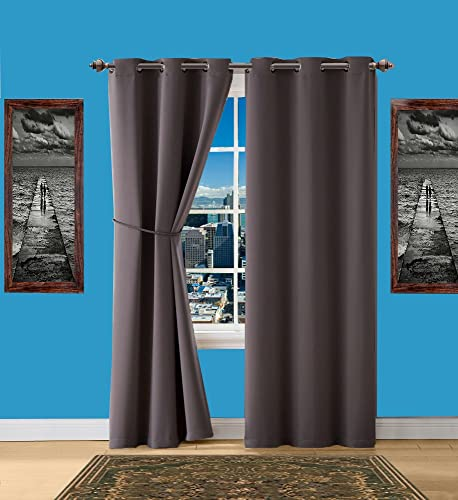 Infinite Home Beauty Blackout Curtains with Grommets. Each 1 Panel is 38 X 84 in Size. Beautiful Matching Tie-Back is Included in Package. Charcoal, 1 Pair 2 Panels 38 x 84 Each