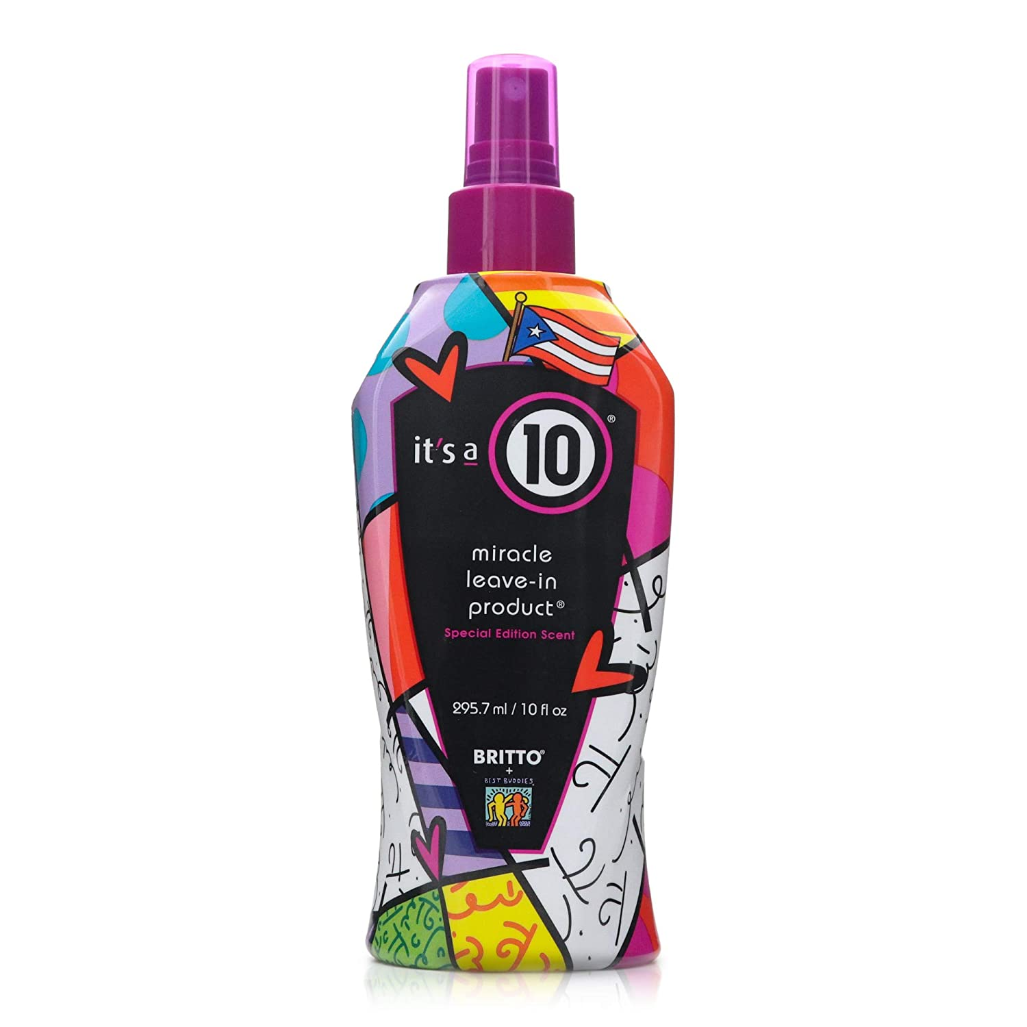 It's a 10 Haircare Limited Edition Miracle Leave-in Product, Designed by Romero Britto, 10 fl. oz.