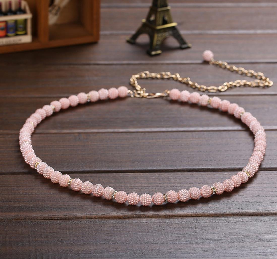 YYH Cinture tempestati di strass perla donna , pink