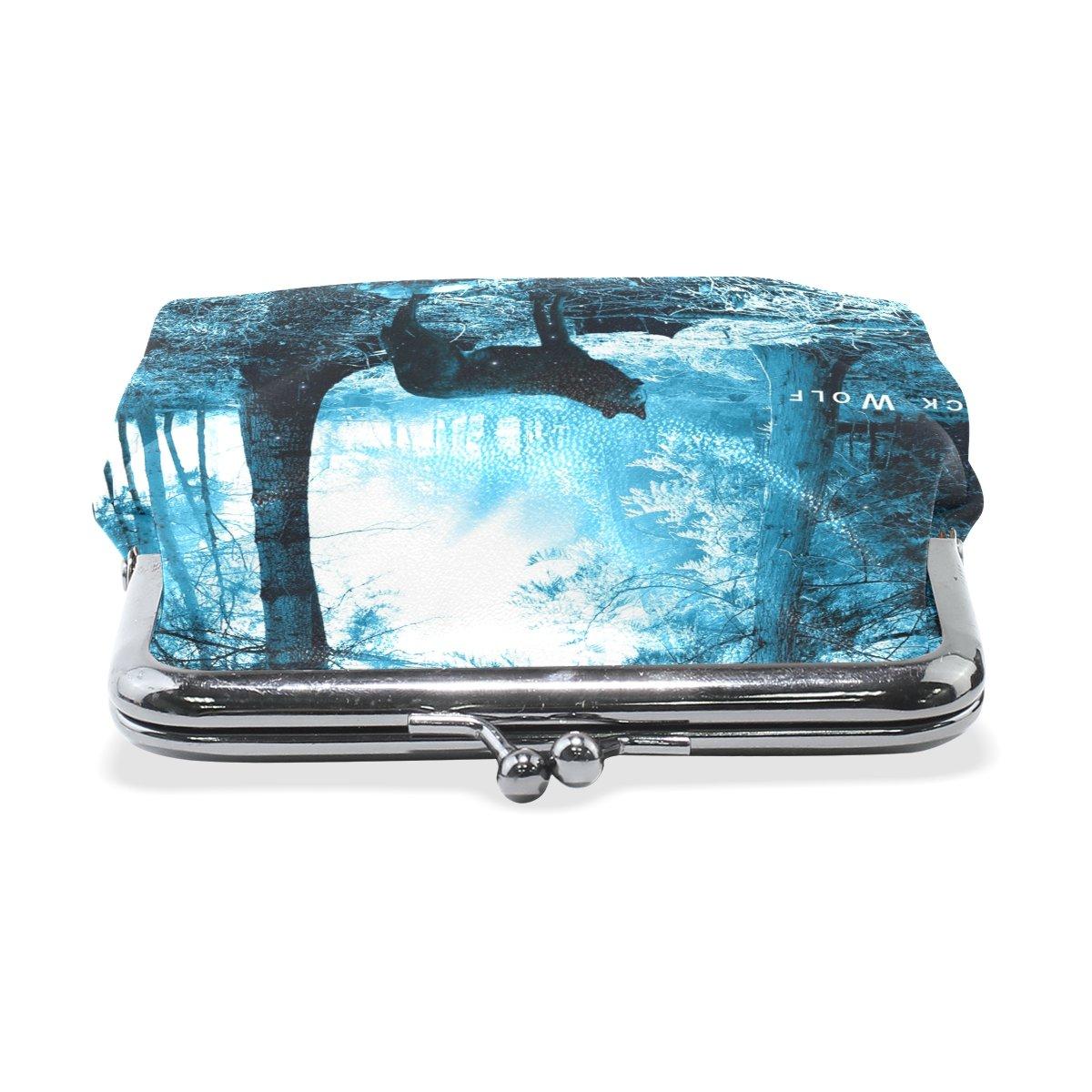 Coin Purse Wolf Forest Wallet Buckle Clutch Handbag For Women Girls Gift