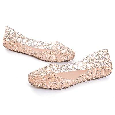 STUNNER Women's Beach Jelly Shoes Slip On Crystal Summer Soft Hollow Ballet Flats | Flats