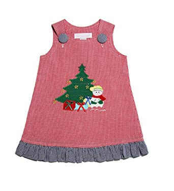 d448de8cc4dab Amazon.com: Baby Girls Appliqué Christmas Tree Snowman Holiday Dress:  Clothing
