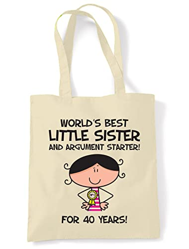 World Best Little Sister Womens 40th Birthday Present Shoulder Tote Bag Amazoncouk Shoes Bags
