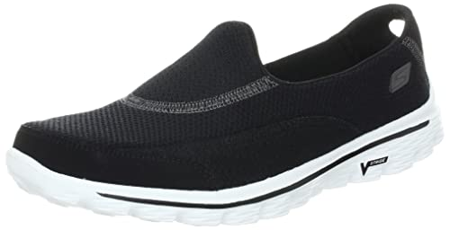 Go Walk 2, Womens Trainers, Black (Black/White), 2 UK (35 EU) (5 US) Skechers