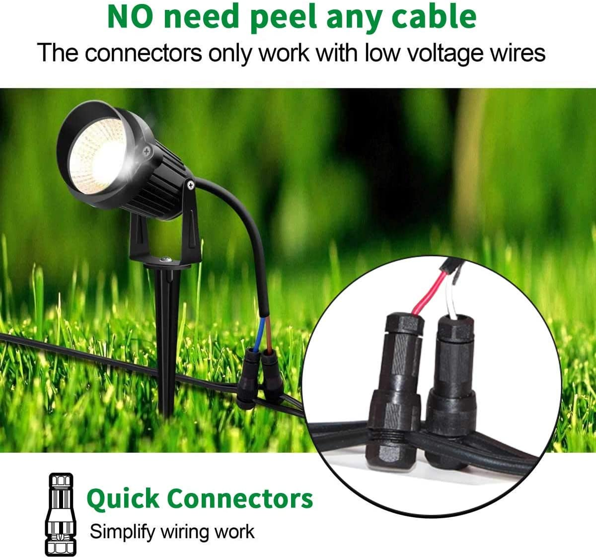 Hypergiant Fastlock Twist Low Voltage Wire Connector 24 Pack,Landscape Lighting Connector for 12-14 Gauge Cable,Outdoor Lights Connector for Garden,Path,Yard Lights Work with Malibu Paradise Moonray