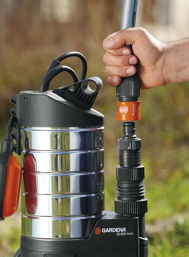 Bomba de aguas sucias 20000 inox Premium de GARDENA: bomba sumergible, caudal 20 000 l/h, motor de condensador silencioso y sin mantenimiento de 1050 W, ...