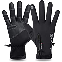H HOME-MART Men's Cycling Gloves,Cycling Touch Screen Winter Warm Gloves for Men and Women Water Wind Proof for Cycling…
