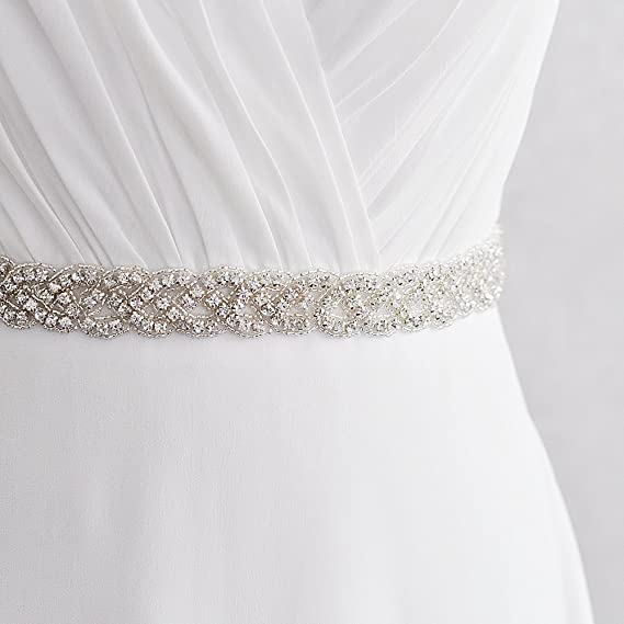 Vococal - Boda Vestido Faja Cintura Cinturón de Cinta de Raso Blanco Novia Brillantes Diamantes de Imitación para Mujer: Amazon.es: Ropa y accesorios