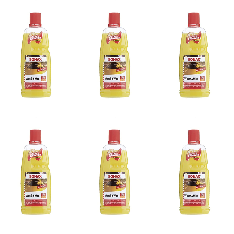 6 x Sonax 313341 Wasch & Wax mit Carnauba Wax je 1 Liter sind insgesamt 6 Liter