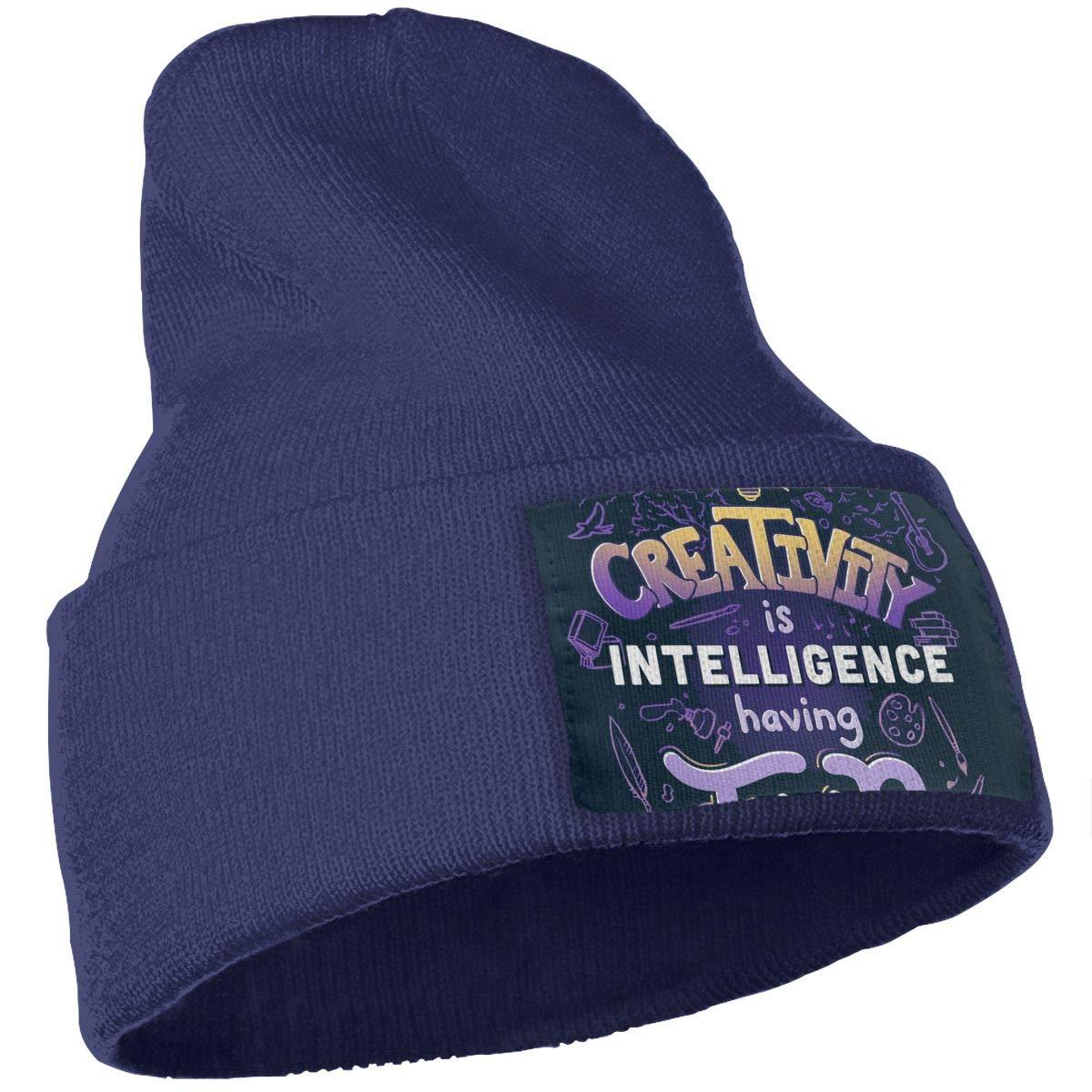 JimHappy Creativity is Intelligence Having Fun Winter Warm Hats,Knit Slouchy Thick Skull Cap Black