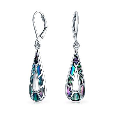 96eb6bfb8 Bling Jewelry .925 Silver Abalone Elongated Teardrop Leverback Earrings:  Amazon.co.uk: Jewellery