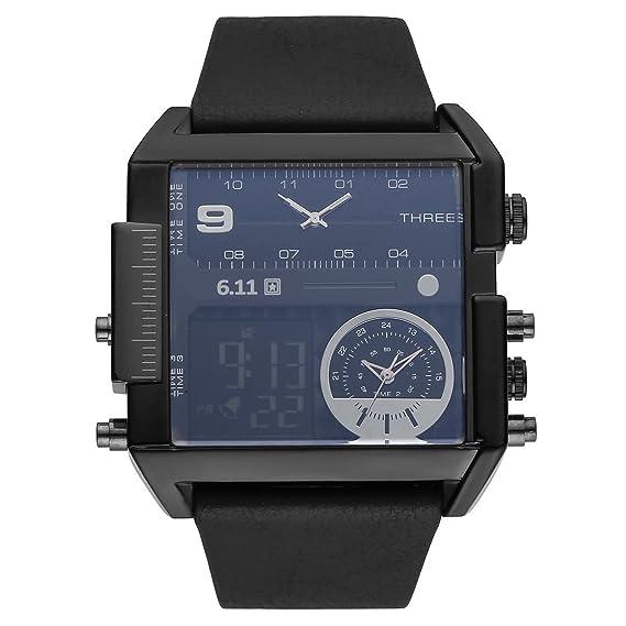 alienwolf reloj para hombres Triple Time Zone digital deporte Square Dial cuero banda analógico de cuarzo reloj de pulsera: Yesurprise: Amazon.es: Relojes