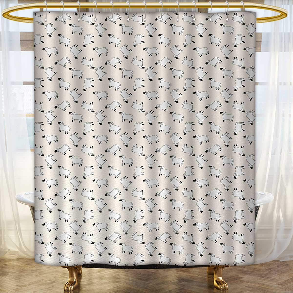 Sheep Shower Curtains 3D Digital Printing Cartoon Style Funny Animals Chewing Green Weed Farm Wildlife Themed Pattern Custom Made Curtain 36x84