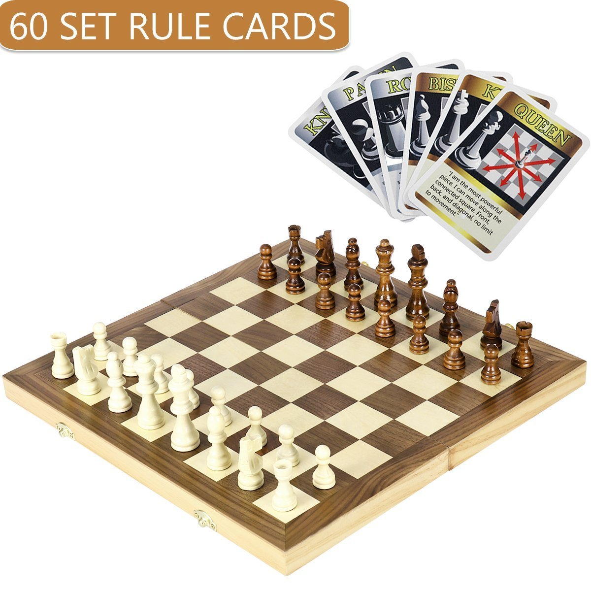"""iBaseToy Folding Wooden Chess Set with 60 Game Rules Cards for Adults Kids Beginners Large Chess Board - 15'' x 15'' x 1"""""""