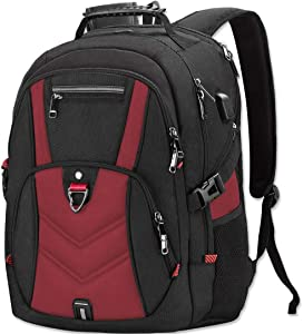 Laptop Backpack 18 Inch Business Travel Backpacks for Men Women Extra Large Waterproof TSA Anti Theft College School Bookbags with USB Charging Port 18.4 Gaming Computer Backpack,Red