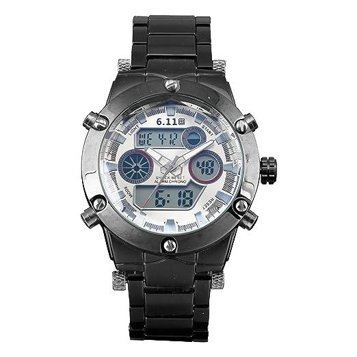 Ejército Digital del Deporte del Reloj Negro Esfera Plata Acero Inoxidable Fecha La Alarma Caja Los Hombres: Amazon.es: Relojes