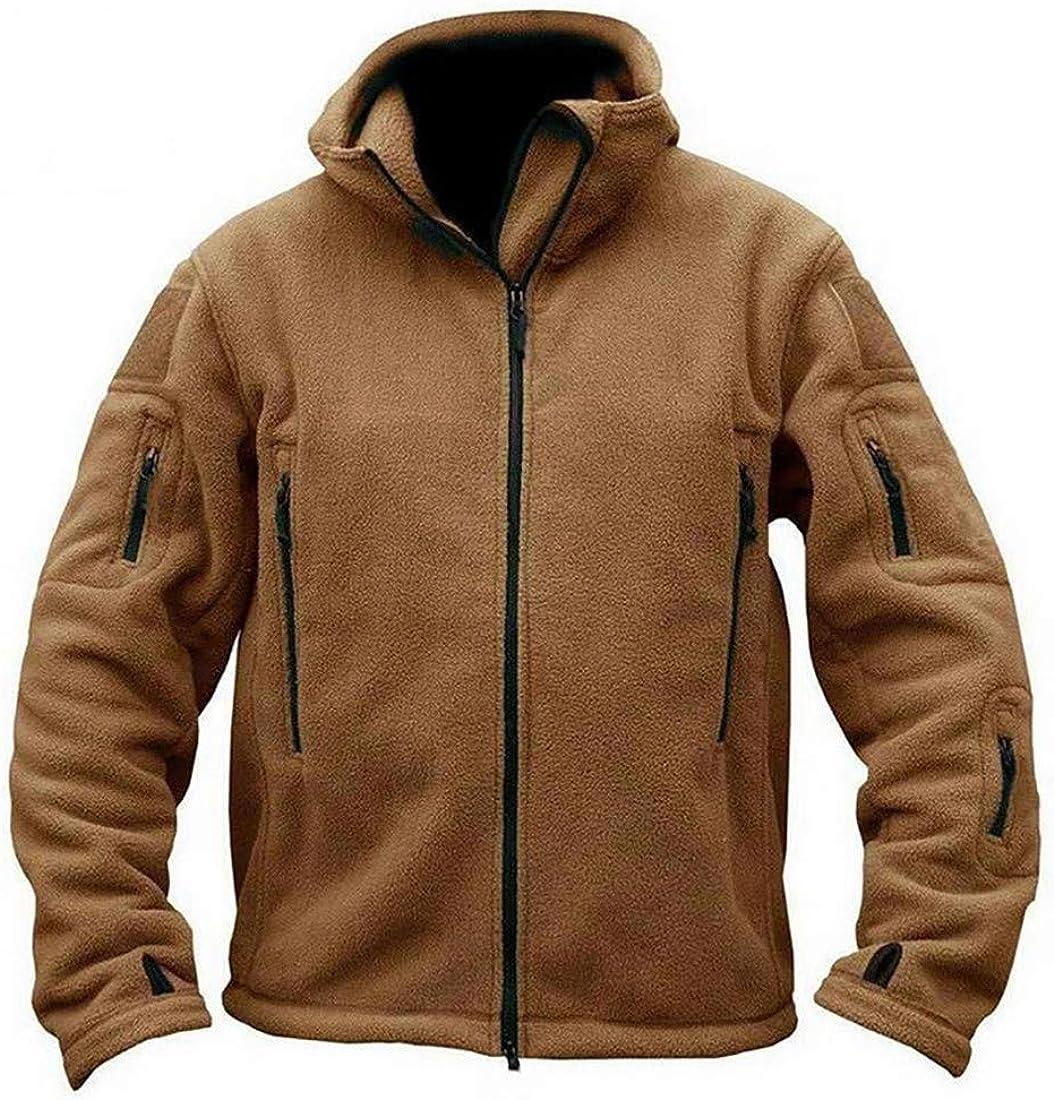 KLJR Men Zip Up Coat Outerwear Hoodie Military Solid Color Fleece Sweatshirt