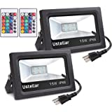 Ustellar 2 Pack 15W RGB LED Flood Lights, Outdoor Color Changing Floodlight With Remote Control, IP66 Waterproof 16 Colors 4 Modes Dimmable Wall Washer Light, Stage Lighting with US 3-Plug