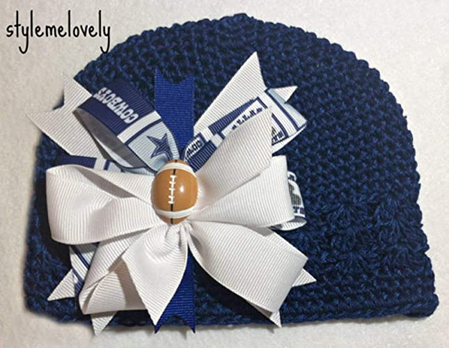Dallas Cowboys Boutique Bow Crocheted Kufi Hat Amazoncom