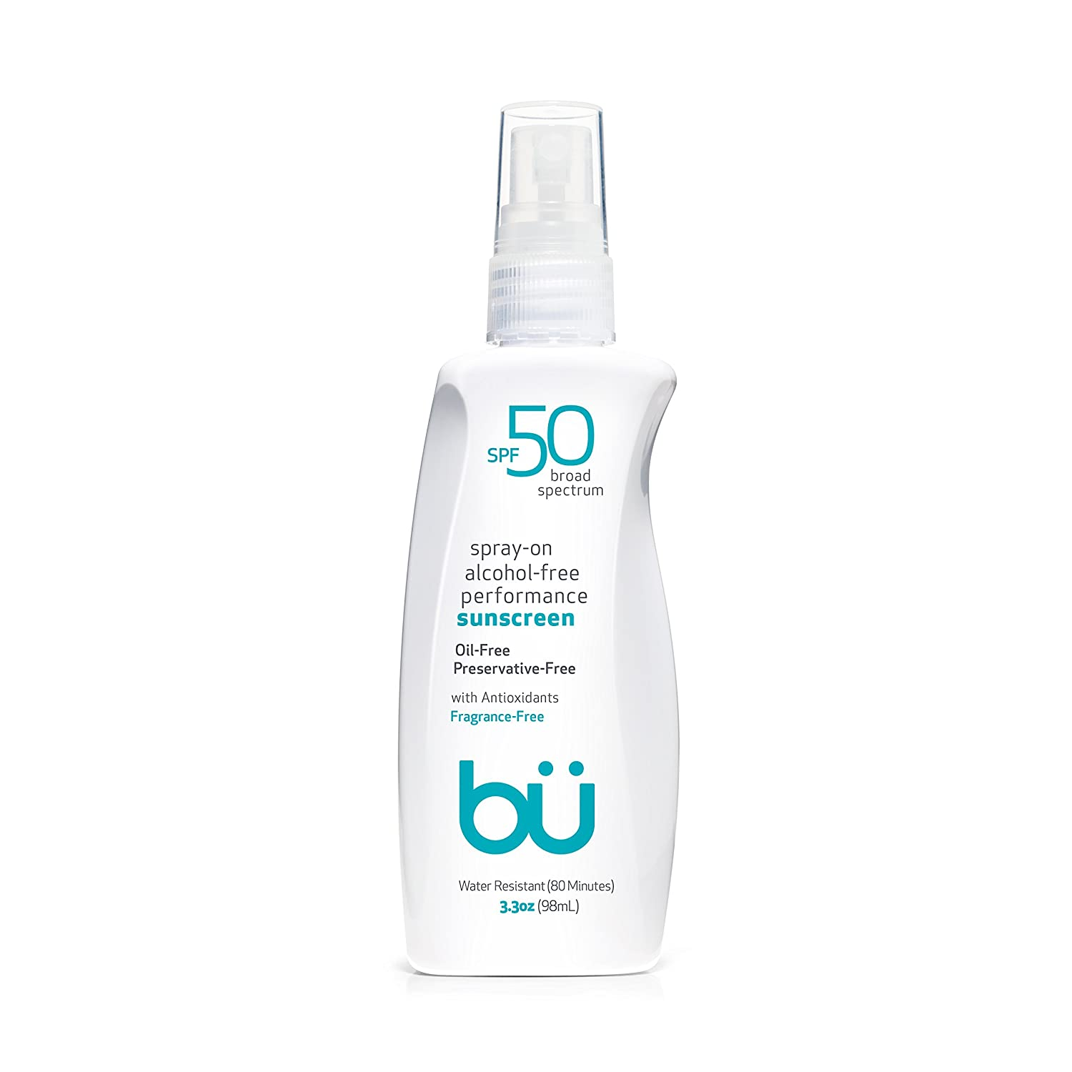 Sunscreen Spray SPF 50 by Bu - Travel Size Organic Biodegradable Sun Block for Sensitive Skin - Oil-Free, Alcohol-Free, Non Comedogenic, Water-Resistant (3.3 Ounce)