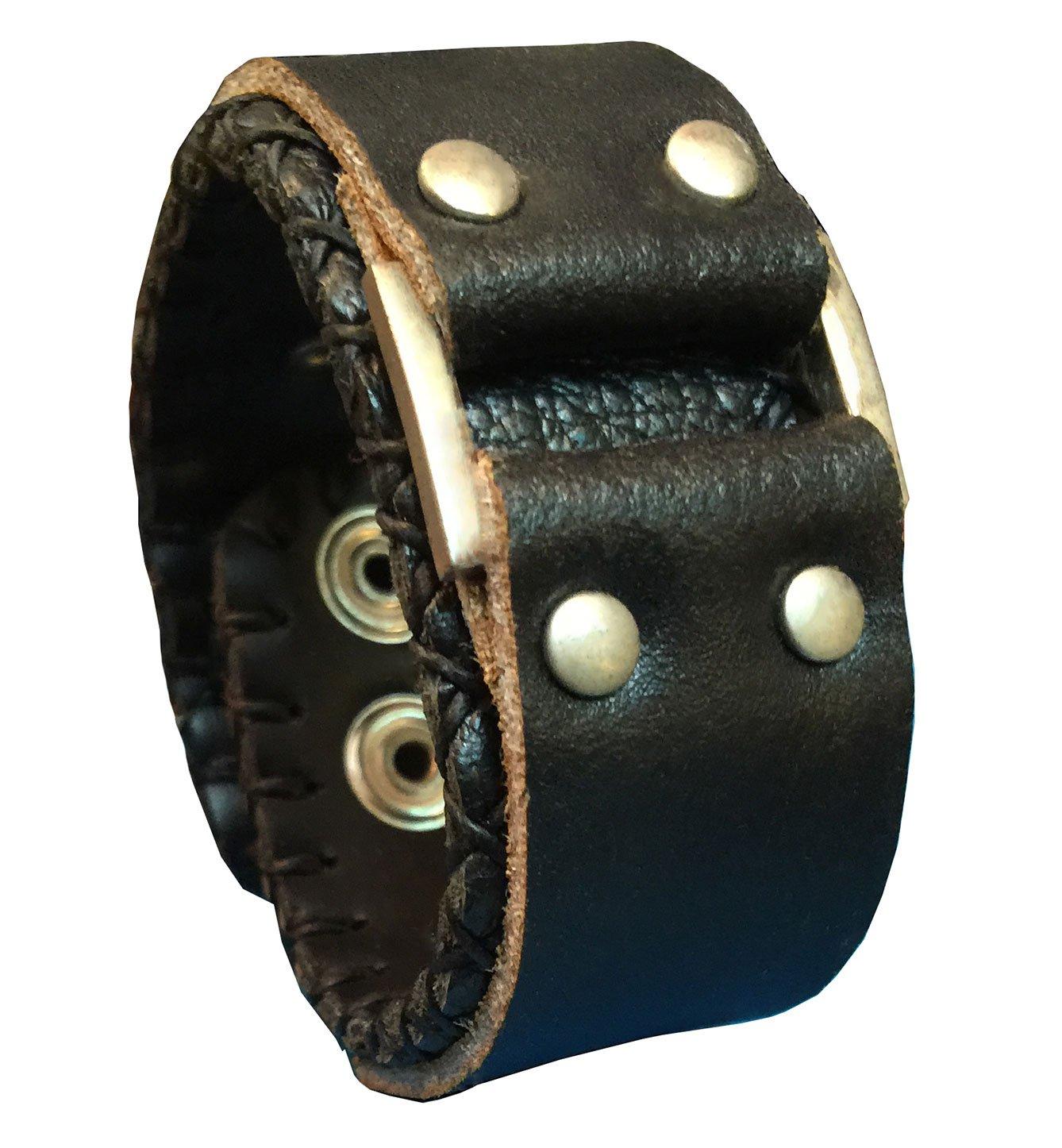 D'SHARK 1'' Wide Biker Genuine Leather Bangle Cuff Luxury Bracelet Wristband for Unisex (Black)