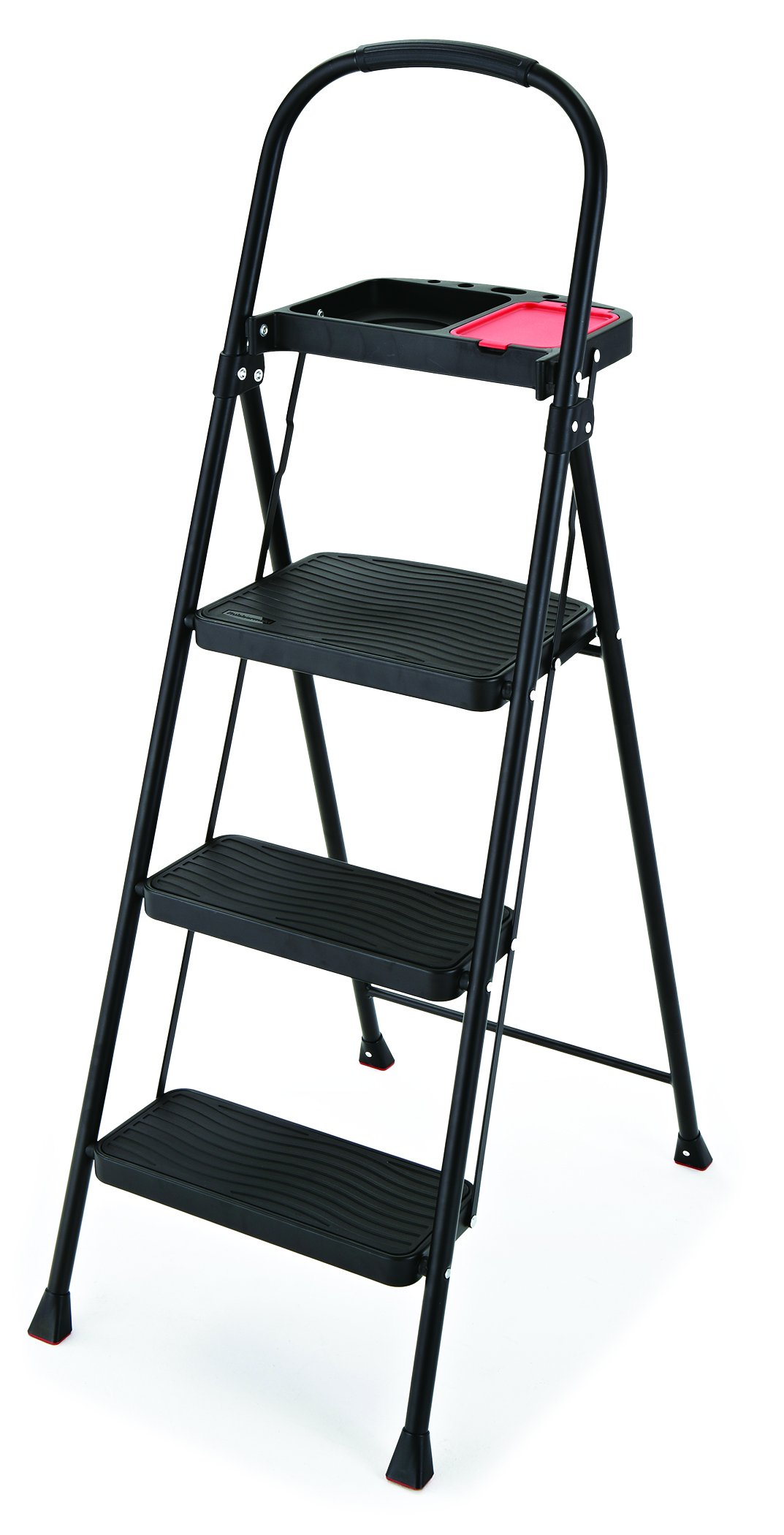 Rubbermaid RMS-3T 3-Step Steel Step Stool with Project Tray, 225-pound Capacity by Rubbermaid