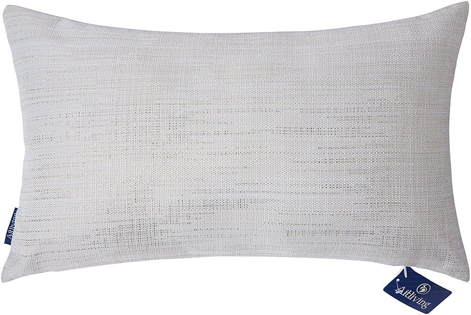 Aitliving Decorative Pillow Sham Throw Pillow Cover 1pc for Couch Sofa Decor Gold Sheen Metallic Print, Creamy Warm Linen Blend, Accent Lumbar Pillowcase 30X50cm, 12X20inch