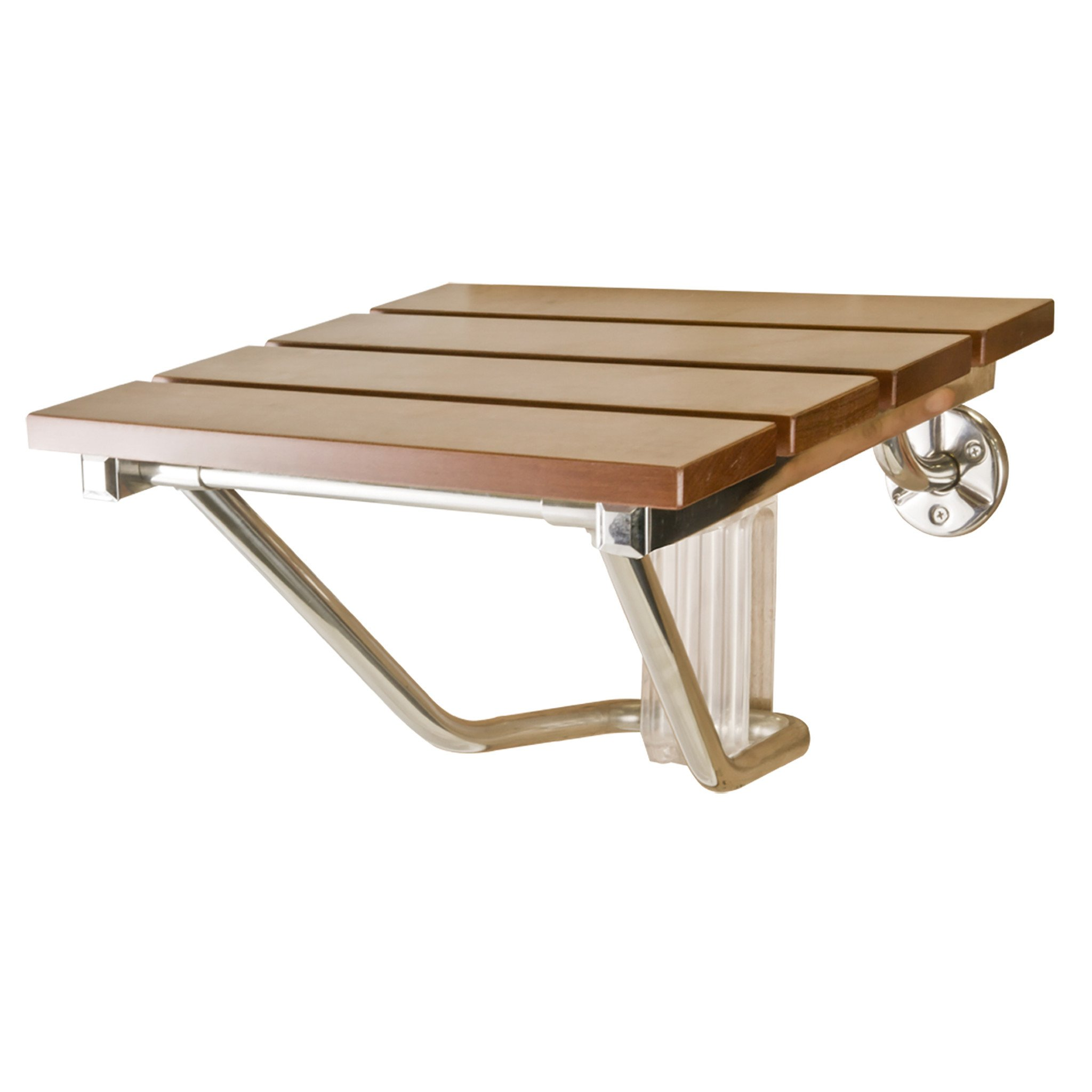 ElvaMunoz Folding Shower Seat Bath Seat Wall Mount Varnished Solid Wood Construction