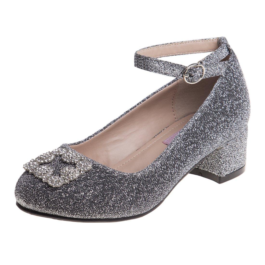Nanette Lepore Girls Glitter Mesh Dress Block Heel Shoes with Rhinestone Buckle (Little Kid/Big Kid)