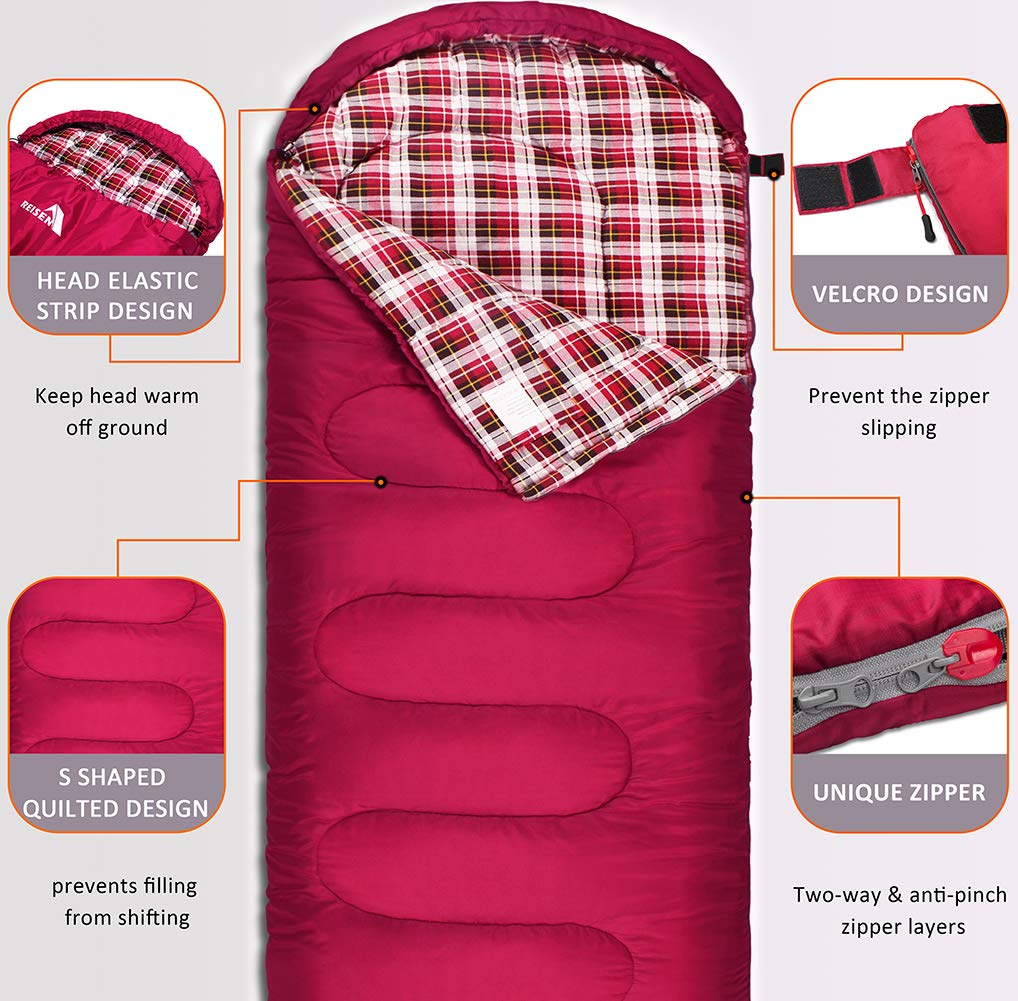Reisen Warm & Cold Weather Sleeping Bag, 0 Degree Celsius Lightweight Sleeping Bags for Adults/Youth, Great for 3-4 Season Backpacking/Camping/Hiking (30°F-50°F) ... 5