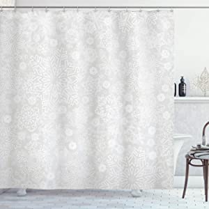 Ambesonne Winter Shower Curtain, Seasonal Pattern with Ornate Flakes Frost Blizzard Holiday Celebration, Cloth Fabric Bathroom Decor Set with Hooks, 70