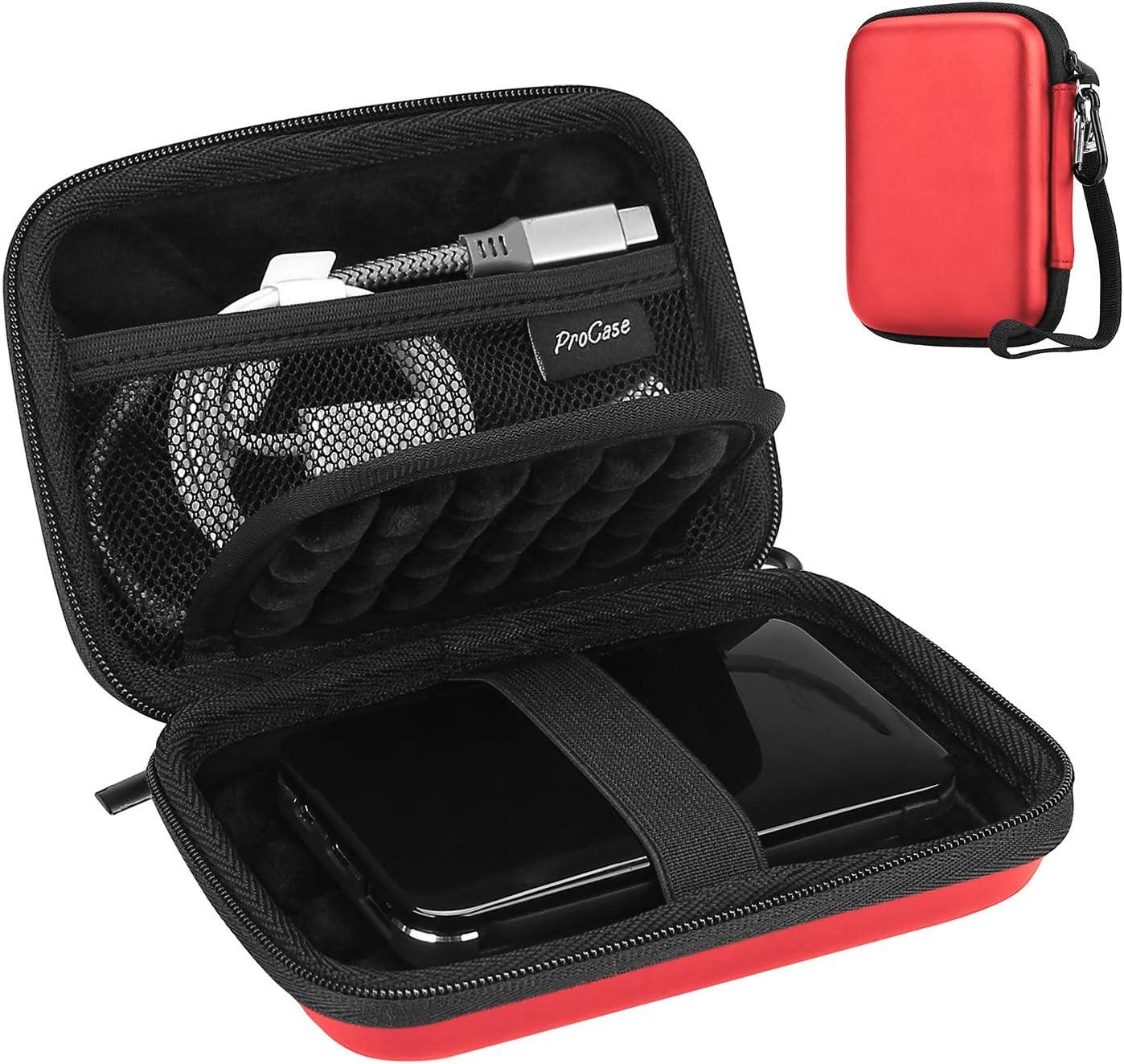 "ProCase Portable Hard Drive Case for Canvio Basics Western Digital WD Elements My Passport Seagate Portable Backup Plus Slim 1TB 2TB 3TB 4TB USB 3.0, 2.5"" Portable External Hard Drive Case -Red"