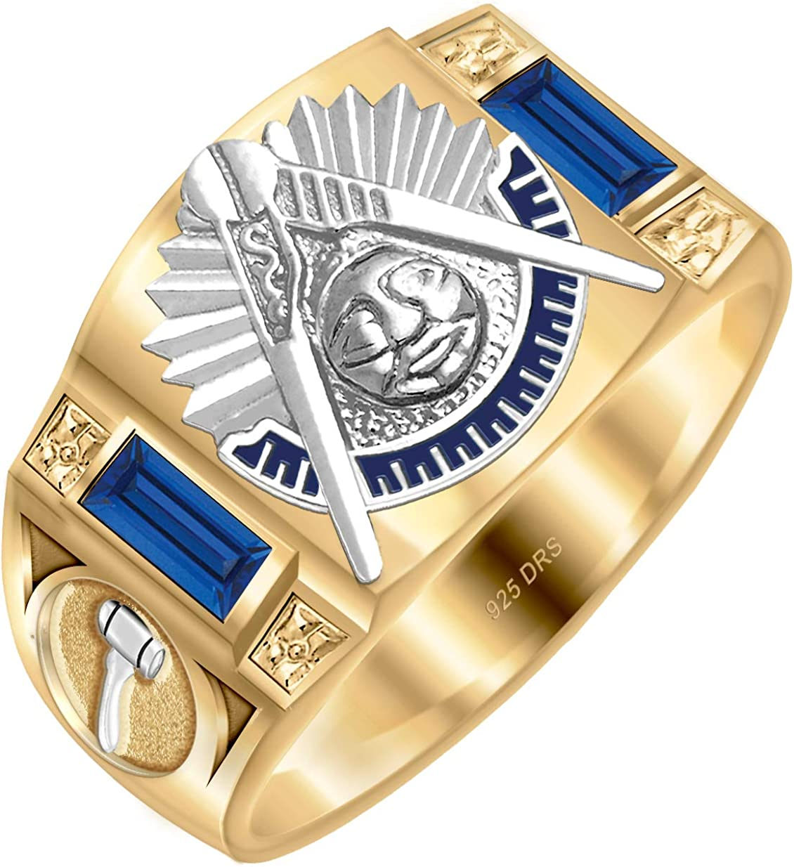 US Jewels And Gems Customizable Mens Solid Back Two Tone 0.925 Sterling Silver Simulated Sapphire Past Master Masonic Ring