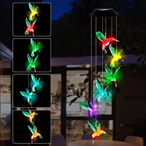 SAND MINE Solar Wind Chimes, Outdoor Solar Hummingbird Wind Chimes, Color Changing LED Mobile Wind Chime, Outdoor Waterproof LED Solar Light for Porch Deck Garden Patio Decor, Green