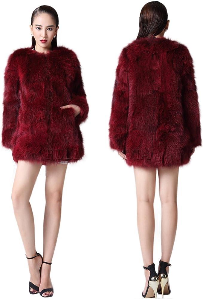 aorui señoras abrigo de invierno Real de piel de zorro chaquetas ...
