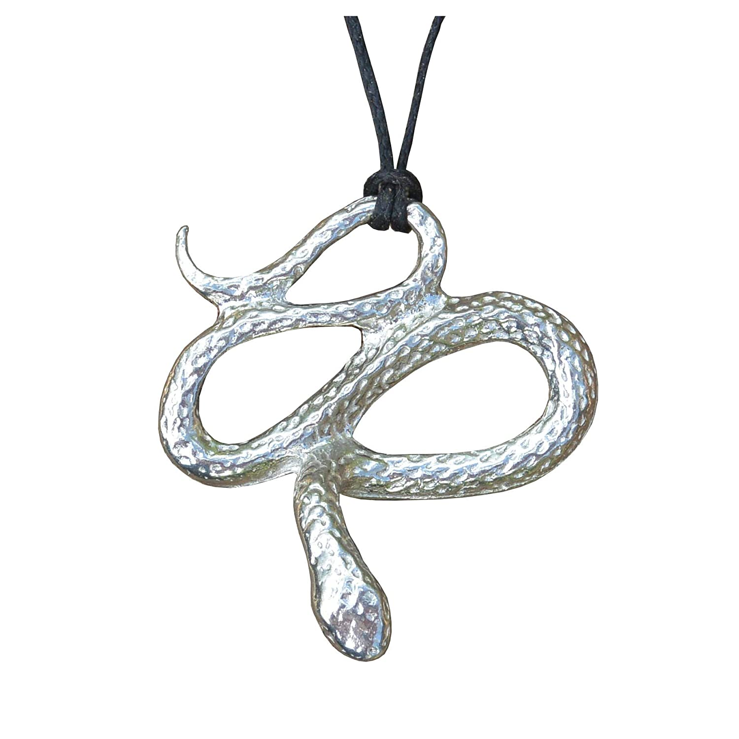 Serpent Pendant Fine Pewter Strung on Adjustable Waxed Cord Snake Pendant by William Sturt Handmade