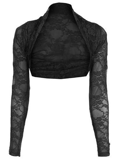 a3f5aae457c40f Trendy Womens Women's Lace Cropped Bolero Shrug Cardigan Top (Black,  Small/Medium)