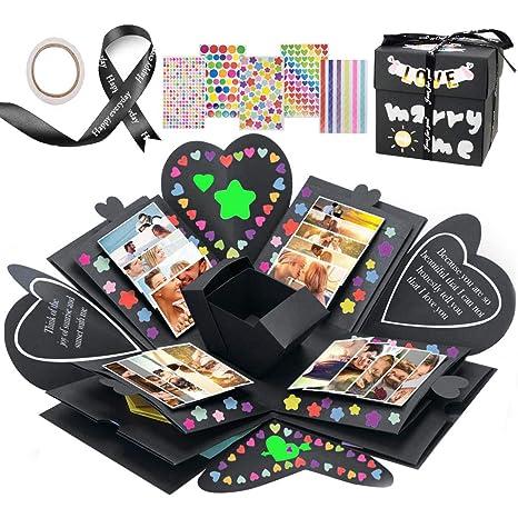 Kreative /Überraschung Box Handgemachtes Fotoalbum zum Selbstgestalten Schwarze Seiten Scrapbook VEESUN Explosionsbox Schwarz MEHRWEG DIY Hochzeit Jahrestag Geburtstags Weihnachten Geschenkbox