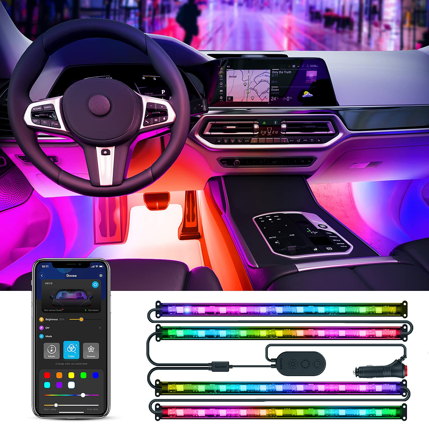 Govee RGBIC Interior Car Lights with Smart App Control, 2 Lines Design LED Car Lights, Music Sync Mode, DIY Mode, and Multiple Scene Options for Cars, Trucks, SUVs