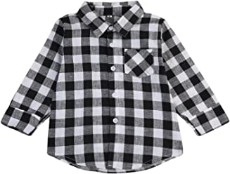 6651fc97bc4 Imcute Toddler Baby Boys Girls Long Sleeve Casual Grey Plaid Shirt Top for  Autumn Winter