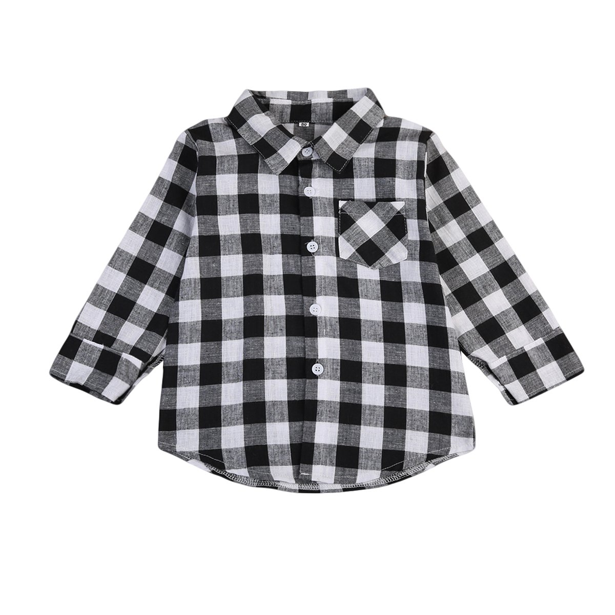 Imcute Toddler Baby Boys Girls Long Sleeve Casual Grey Plaid Shirt Top Autumn Winter
