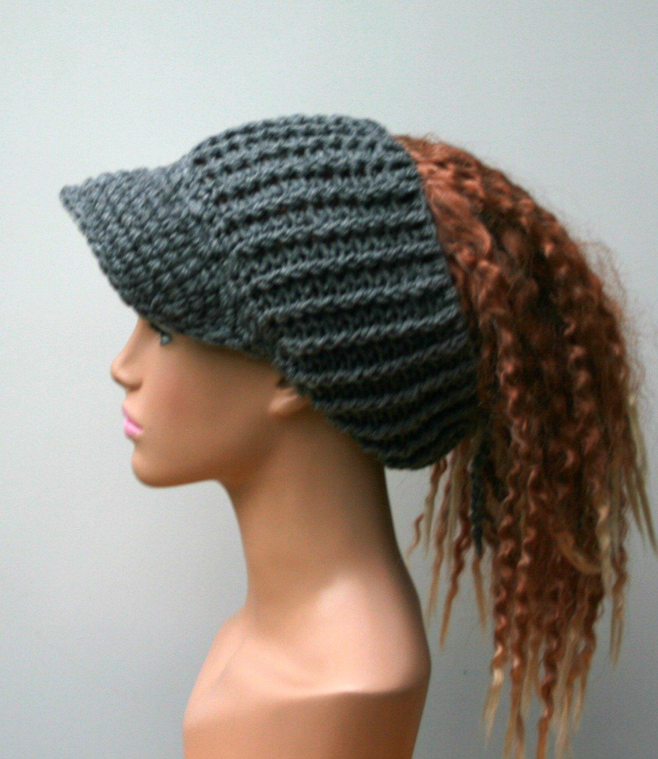 a77e8cd1f Amazon.com: HANDMADE heather gray Ponytail hat, Visor Dread Tube cap ...