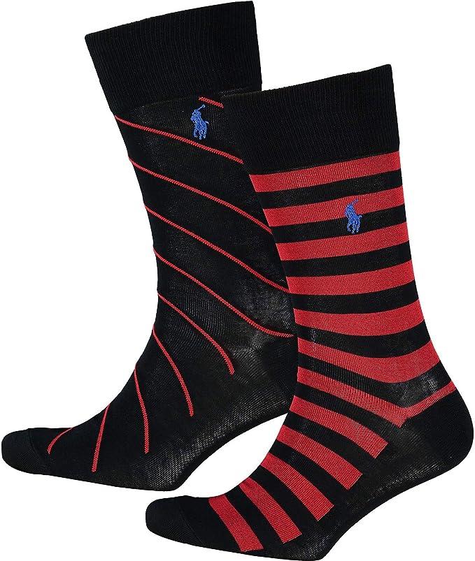 Polo Ralph Lauren - Calcetines a rayas (2 unidades), color negro y ...