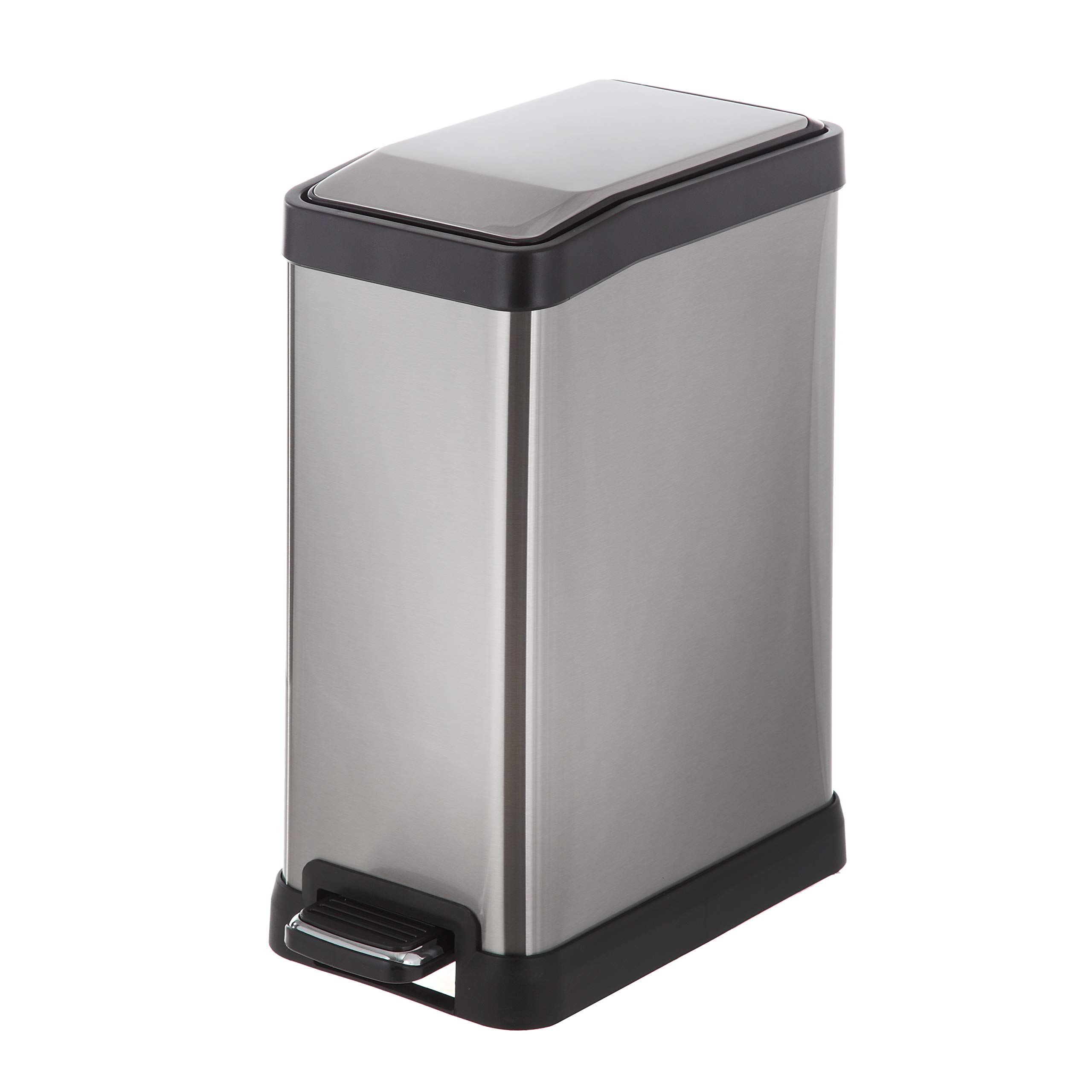 Home Zone Rectangular Step Trash Can - 2 Gallon /8 Liter Stainless Steel Trash Can Bin, Silver (VA41312A)