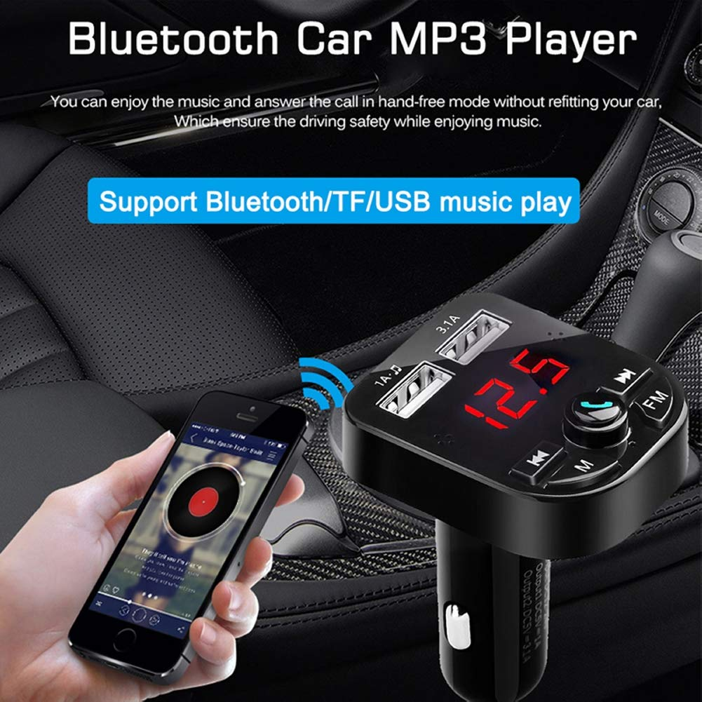 Wireless in-Car FM Radio Adapter Car Kit TF Card Music Player for All Smartphones U Disk 3.1A//1A with Dual USB Charging Ports Bluetooth FM Transmitter for Car Apple Cable Hands Free Calling