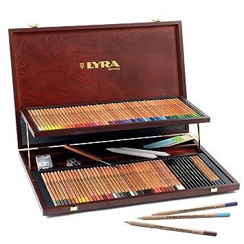 Lyra - Estuche de madera con 96 lápices de colores y accesorios: Amazon.es: Oficina y papelería